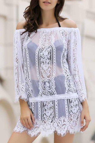 Cheap Stylish Off The Shoulder Long Sleeve White Lace Women's Cover Up