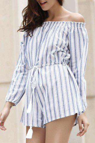 Fancy Alluring Off-The-Shoulder Striped Women's Playsuit