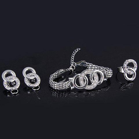 Discount A Suit of Hollowed Circle Jewelry Set - ONE-SIZE SILVER Mobile