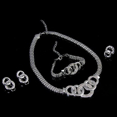 Online A Suit of Hollowed Circle Jewelry Set - ONE-SIZE SILVER Mobile