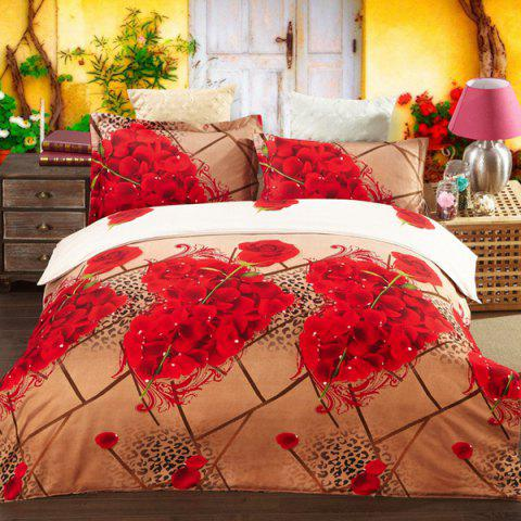 Chic Fashion 3D Heart Roses Oil Painting Pattern Duvet Cover 4 PCS Bedding(Without Comforter )