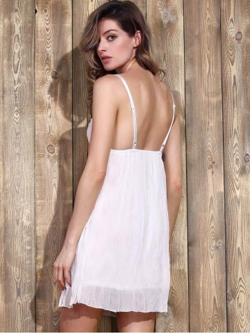 Online Women's Stylish Plunging Neck Lace Bowknot Decorated Pleated Babydolls - XL WHITE Mobile