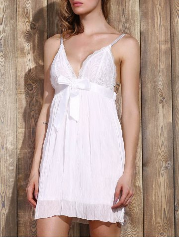 Best Women's Stylish Plunging Neck Lace Bowknot Decorated Pleated Babydolls - L WHITE Mobile