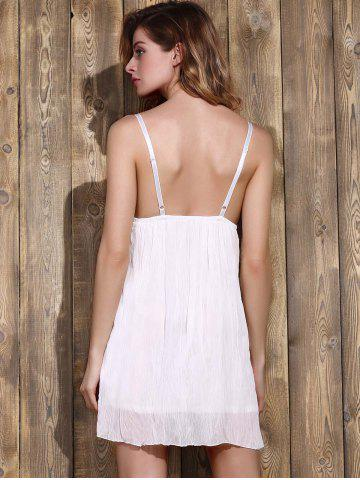 Sale Women's Stylish Plunging Neck Lace Bowknot Decorated Pleated Babydolls - M WHITE Mobile