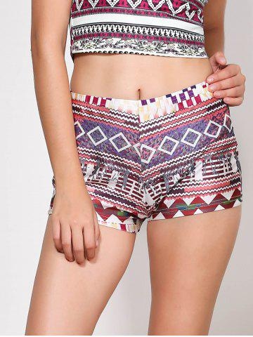 Unique Ethnic Style Multicolored Printed Elastic Waist Shorts For Women COLORMIX S