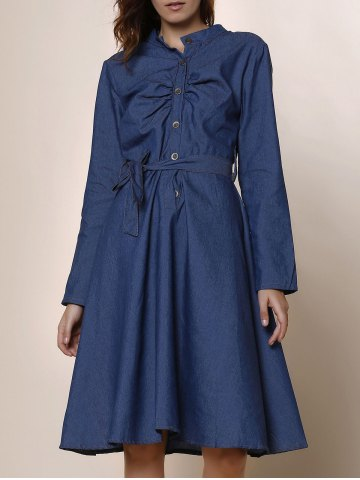 Stylish Stand-Up Collar Long Sleeve Button Design Denim Women's Dress - Deep Blue - S