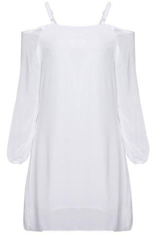 Cheap Long Sleeve Cold Shoulder Tunic Shift Dress - S WHITE Mobile
