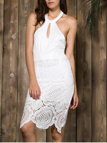 Chic Halter Backless Lace Panel Sheath Cocktail Dress
