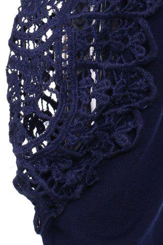 New Casual Scoop Neck Lace Splicing Long Sleeve T-Shirt For Women - DEEP BLUE L Mobile
