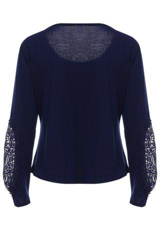Chic Casual Scoop Neck Lace Splicing Long Sleeve T-Shirt For Women - DEEP BLUE L Mobile