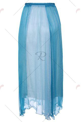 Store Color Block Flowy Long Skirt - ONE SIZE NAVY BLUE Mobile