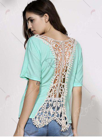 Buy Dolman Sleeve Backless Crochet Party Tunic Top - XL GREEN Mobile
