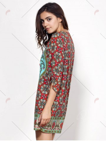 Outfits Vintage Style V-Neck 3/4 Sleeve Full Print Dress For Women - L COLORMIX Mobile