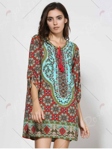 Chic Vintage Style V-Neck 3/4 Sleeve Full Print Dress For Women - L COLORMIX Mobile