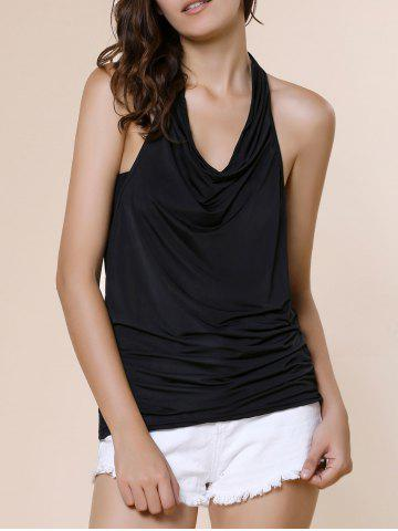 Cowl Neck Sleeveless Solid Color Backless T Shirt