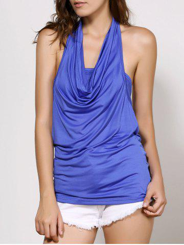 Chic Cowl Neck Sleeveless Plain Backless T-Shirt BLUE S