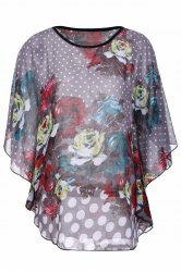 Stylish Scoop Neck Polka Dot Floral Print Dolman Sleeve Chiffon Blouse For Women