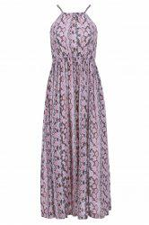 Long Printed Chiffon Boho Slip Dress - SHALLOW PINK