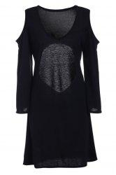 Sexy V-Neck Open Back Long Sleeve Dress For Women - BLACK