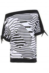 Casual Short Sleeve Striped Women's Plus Size T-Shirt - BLACK XL