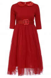 Peter Pan Collar Long Sleeve A-Line Midi Dress -