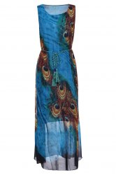 Bohemian Scoop Neck Sleeveless Printed Ankle-Length Women's Dress - BLUE AND YELLOW