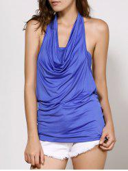 Stylish Cowl Neck Sleeveless Solid Color Backless Women's T-Shirt