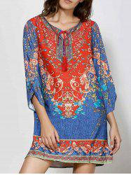 Retro Style V-Neck Full Floral Print 3/4 Sleeve Dress For Women - COLORMIX M