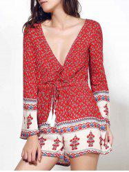 Ethnic Plunging Neck Long Sleeve Printed Drawstring Women's Romper - RED