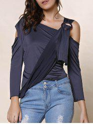 Stylish Skew Neck 3/4 Sleeve Asymmetrical Hollow Out Women's T-Shirt -