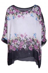 Refreshing Scoop Neck Flower Print Batwing Sleeve Women's Chiffon Blouse