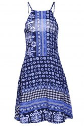 Trendy Style Halter Full Print Dress For Women - BLUE