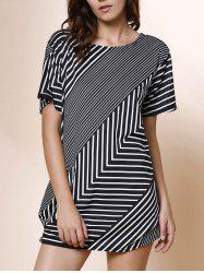 Stylish Skew Neck Short Sleeve Striped Women's T-Shirt -