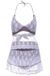 Chic Halter Lace Splicing Three Piece Swimwear For Women -