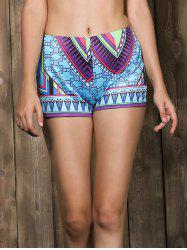 Stylish Mid-Waisted Printed Bodycon Women's Shorts - COLORMIX