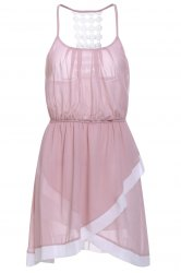 Sweet Spaghetti Strap Hollow Out Asymmetrical Women's Dress - PINK