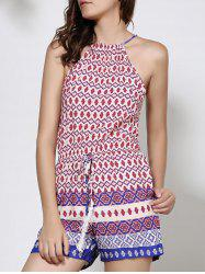 Ethnic Round Neck Backless Print Romper For Women - PURPLE