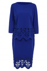 Plus Size Openwork Two Piece Fitted Tight Dress - SAPPHIRE BLUE 6XL