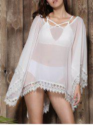 Stylish V-Neck Lacework Spliced Loose-Fitting 3/4 Sleeve Kimono Blouse For Women