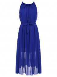 Stylish Jewel Neck Solid Color Chiffon Dress For Women -