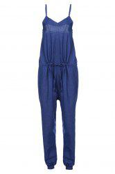 Brief Spaghetti Strap Purplish Blue Sleeveless Jumpsuit For Women