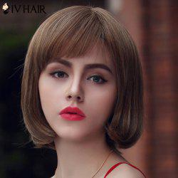 Trendy Human Hair Siv Hair Short Bobo Style Women's Wig - LIGHT CHOCOLATE