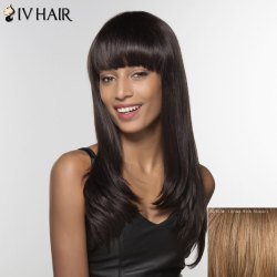 Trendy Siv Hair Neat Bang Long Curly Human Hair Women's Wig -