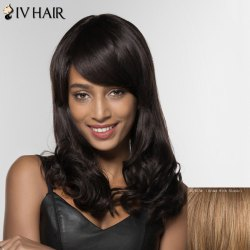 Siv Hair Long Curly Human Hair Women's Wig - BROWN WITH BLONDE