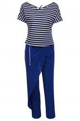 Casual Style Skew Neck Short Sleeve Striped T-Shirt + Drawstring Pants Women's Twinset - BLUE AND WHITE