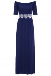 Vintage Off-The-Shoulder Waist Lace Spliced Maxi Dress For Women - PURPLISH BLUE