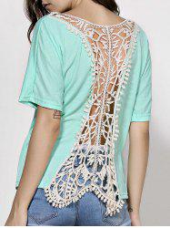 Dolman Sleeve Backless Crochet Party Tunic Top - GREEN