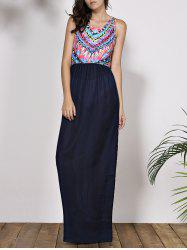 Ethnic Style Scoop Neck Geometric Printed Maxi Dress For Women -
