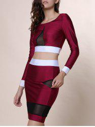 Sexy Scoop Collar Long Sleeve See-Through Crop Top + Spliced Skinny Skirt Women's Twinset - WINE RED L