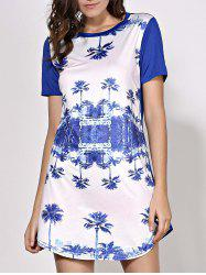 Round Neck Trees Printed Mini Shift Dress - PURPLISH BLUE S